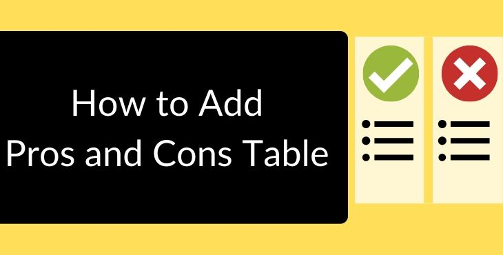 Pros and Cons Table Wordpress