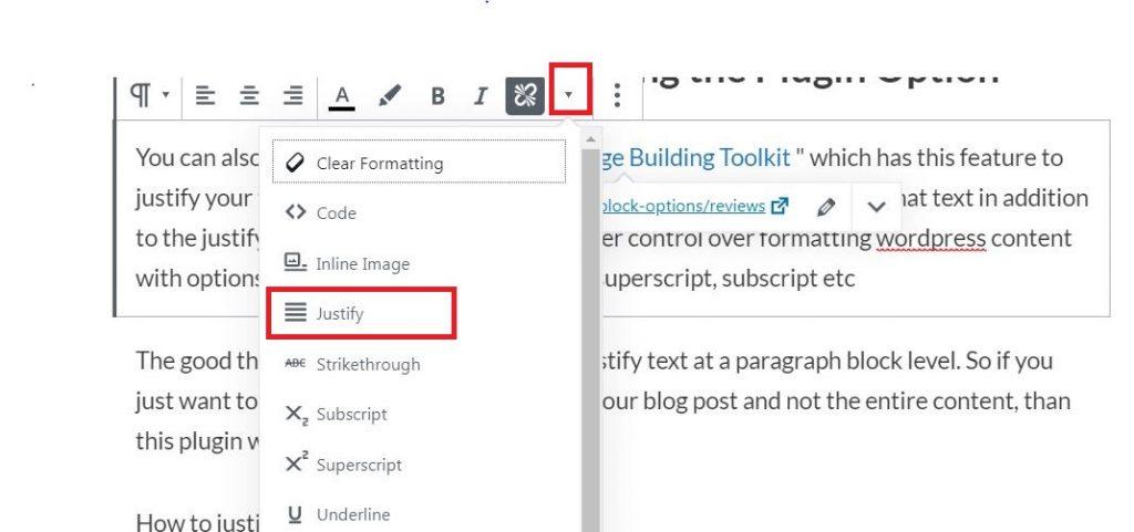 Justify Text in WordPress Gutenberg